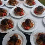 Homamde Chocolate Profiteroles, Served with Fresh Strawberries and Cream
