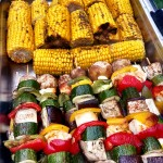 BBQ - Corn On The Cob And Vegetable Skewers